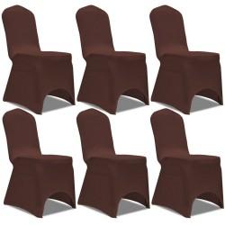 stradeXL Elastyczne pokrowce na krzesła, 6 szt., brązowe