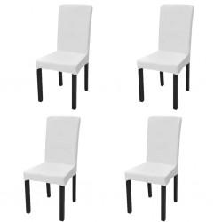 stradeXL Elastyczne pokrowce na krzesło w prostym stylu, białe, 4 szt.