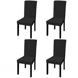 stradeXL Elastyczne pokrowce na krzesła, 4 szt., czarne