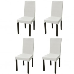stradeXL Elastyczne pokrowce na krzesło w prostym stylu kremowe, 4 szt.