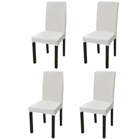 stradeXL Straight Stretchable Chair Cover 4 pcs Cream