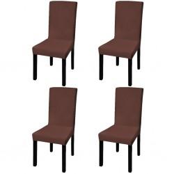 stradeXL Elastyczne pokrowce na krzesła w prostym stylu, 4 szt., brązowe