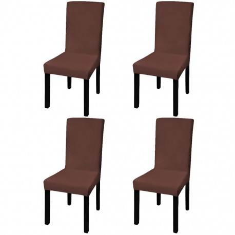stradeXL Straight Stretchable Chair Cover 4 pcs Brown