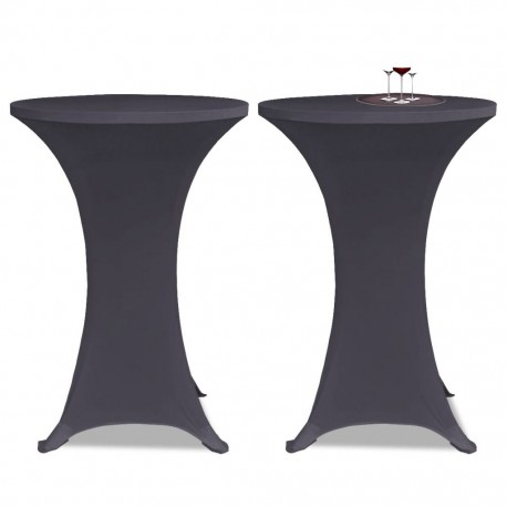stradeXL Stretch Table Cover 2 pcs 60 cm Anthracite