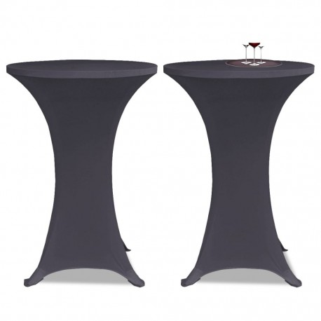 stradeXL Stretch Table Cover 2 pcs 70 cm Anthracite