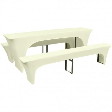 stradeXL 3 elastyczne pokrowce na stół piwny i ławki w kolorze kremowym