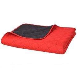 stradeXL Dwustronna, pikowana narzuta na łóżko 220x240 cm, czerwona i czarna