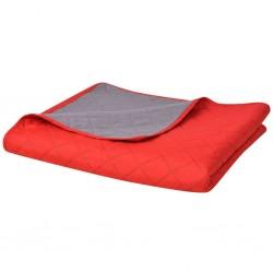 stradeXL Dwustronna, pikowana narzuta na łóżko 220x240 cm, czerwona i szara