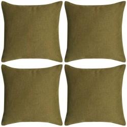 stradeXL Poszewki na poduszki 4 szt. lniane, zielone 80x80 cm