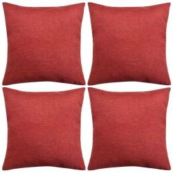stradeXL Poszewki na poduszki 4 szt. lniane, burgundowe 50x50 cm