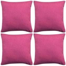 stradeXL Poszewki na poduszki 4 szt. lniane, różowe 80x80 cm