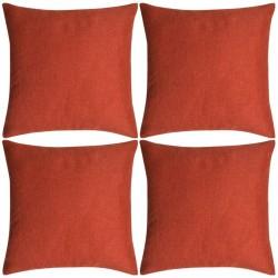 stradeXL Poszewki na poduszki 4 szt. lniane, terakota 50x50 cm