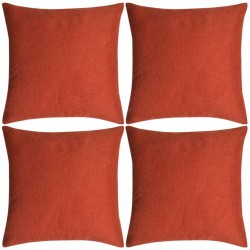 stradeXL Poszewki na poduszki 4 szt. lniane, terakota 80x80 cm