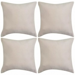 stradeXL Cushion Covers 4 pcs 40x40 cm Polyester Faux Suede Beige