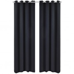 stradeXL Blackout Curtains 2 pcs with Metal Eyelets 135x175 cm Black