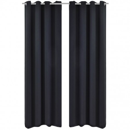 stradeXL Blackout Curtains 2 pcs with Metal Eyelets 135x175 cm Black