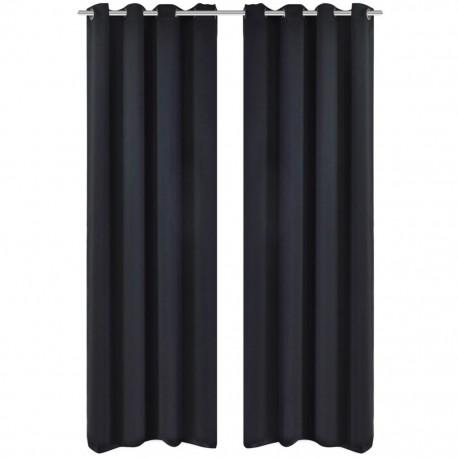 stradeXL Zasłony zaciemniające z kółkami, 2 szt., 135x175 cm, czarne