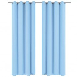 stradeXL Blackout Curtains 2 pcs with Metal Eyelets 135x175 cm Turquoise