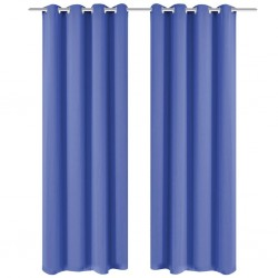stradeXL Blackout Curtains 2 pcs with Metal Eyelets 135x175 cm Blue