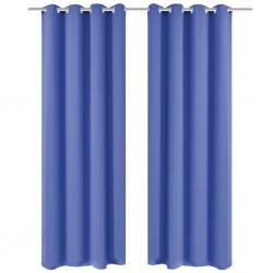 stradeXL Zasłony zaciemniające z kółkami, 2 szt., 135x175 cm, niebieskie