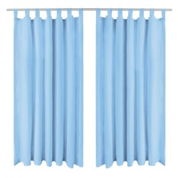 stradeXL Micro-Satin Curtains 2 pcs with Loops 140x175 cm Turquoise