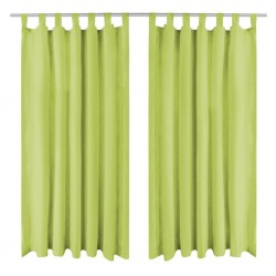 stradeXL Micro-Satin Curtains 2 pcs with Loops 140x225 cm Green