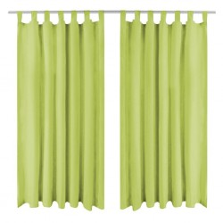 stradeXL Micro-Satin Curtains 2 pcs with Loops 140x245 cm Green