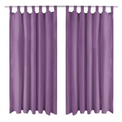 stradeXL Micro-Satin Curtains 2 pcs with Loops 140x225 cm Lilac