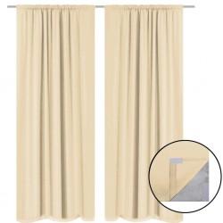stradeXL Blackout Curtains 2 pcs Double Layer 140x175 cm Beige