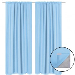 stradeXL Blackout Curtains 2 pcs Double Layer 140x175 cm Turquoise