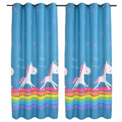 stradeXL Children's Printed Blackout Curtains 2 pcs 140x240 cm Blue