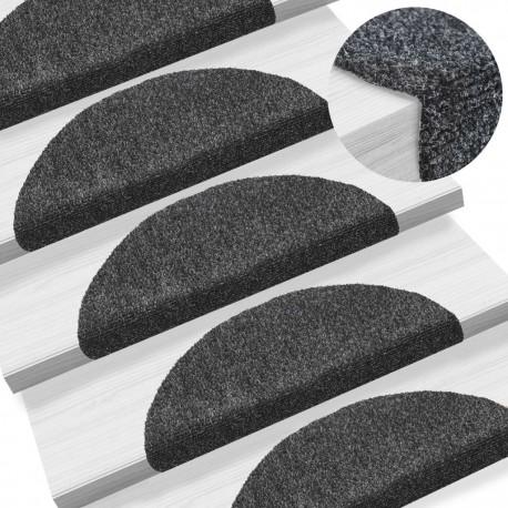 stradeXL 15pcs Self-adhesive Stair Mats Needle Punch 54x16x4cm Dark Grey