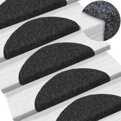 stradeXL 15 pcs Self-adhesive Stair Mats Needle Punch 54x16x4 cm Black