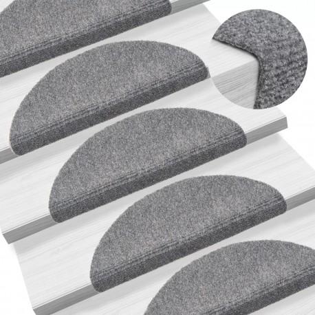 stradeXL 15 Self-adhesive Stair Mats Needle Punch 54x16x4cm Light Grey