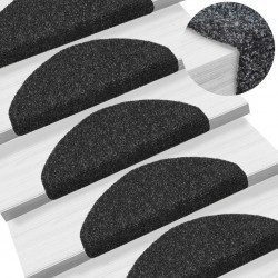 stradeXL 15 pcs Self-adhesive Stair Mats Needle Punch 65x21x4 cm Black