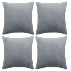 stradeXL Cushion Covers 4 pcs Velour 50x50 cm Grey