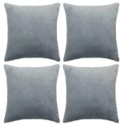 stradeXL Cushion Covers 4 pcs Velour 80x80 cm Grey