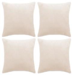 stradeXL Poszewki na poduszki, 4 szt, welur, 50x50 cm, złamana biel
