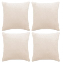 stradeXL Cushion Covers 4 pcs Velour 80x80 cm Off White