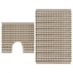 stradeXL Hand-Woven Jute Bathroom Mat Set Fabric Natural and White