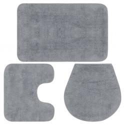 stradeXL 3-częściowy zestaw mat łazienkowych, tkanina, szary