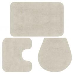 stradeXL 3-częściowy zestaw mat łazienkowych, tkanina, biały