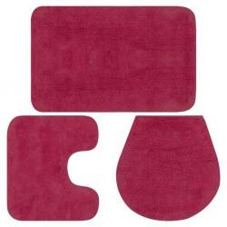 stradeXL Bathroom Mat Set 3 Pieces Fabric Fuchsia