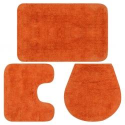 stradeXL 3-częściowy zestaw mat łazienkowych, tkanina, pomarańcz