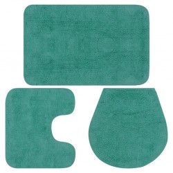 stradeXL Bathroom Mat Set 3 Pieces Fabric Turquoise
