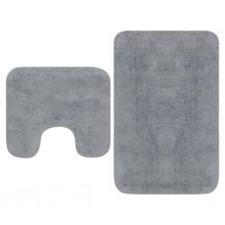 stradeXL Bathroom Mat Set 2 Pieces Fabric Grey