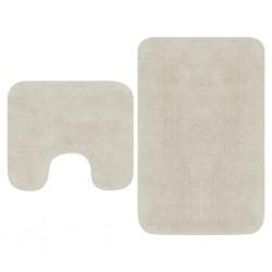 stradeXL 2-częściowy zestaw mat łazienkowych, tkanina, biały