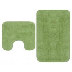 stradeXL 2-częściowy zestaw mat łazienkowych, tkanina, zielony