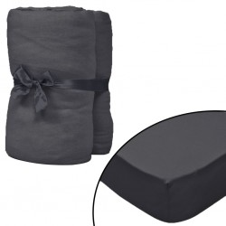 stradeXL Fitted Sheet for Waterbeds 2pcs 2x2.2m Cotton Jersey Anthracite