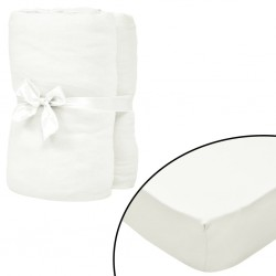 stradeXL Fitted Sheets for Waterbeds 2pcs 1.6x2m Cotton Jersey Offwhite